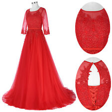 Women Formal Tulle Maxi Dress Prom Evening Party Cocktail Bridesmaid Wedding Red