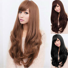 Women Curly Wavy Long Full Wig Heat Resistant Cosplay Party Hair Bluelans