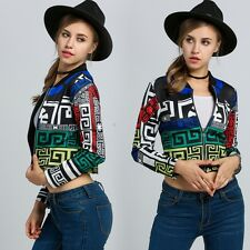 Fashion New Women Multicolor Long Sleeve Geometric Print Zip-Up Crop Jacket