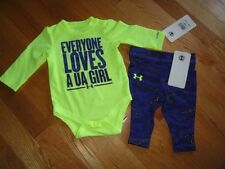Under Armour Baby Girls 2 Piece Set Leggings Bodysuit Outfit Girl's 0M 3M 6M NWT