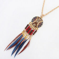 Women's Round Disc Bead Tassel Alloy Pendant Chain Collar Necklace SOL