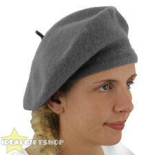LADIES GREY BERET VINTAGE FRENCH CAP FANCY DRESS COSTUME HAT FRENCH FASHION WARM
