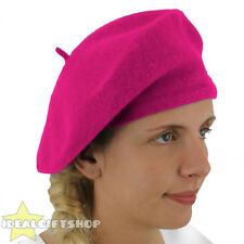 LADIES PINK BERET VINTAGE FRENCH CAP FANCY DRESS COSTUME HAT FRENCH FASHION WARM