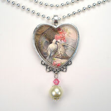 "DOVE BIRD HEART LOVE ""VINTAGE CHARM"" SILVER OR BRONZE ART PENDANT NECKLACE"
