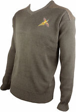 Pheasant Embriodered Shooting V Neck Wool Jumper Hunting Sweater Pullover Brown
