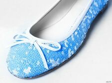 new $595 Giuseppe ZANOTTI white/blue ALL SEQUINS ballet flats shoes - super cute