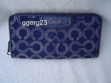 AUTHENTIC COACH BLUE DOTTED OP ART SIGNATURE ZIP AROUND WALLET VGC