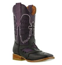 womens black purple cross design leather western cowboy riding boots square