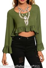 Olive Long Sleeve Chiffon Cropped Top w/ Ruffle Sleeves & Hem Blouse Top S M L