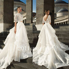 Sexy Lace Top Wedding Dress Satin Tiered Train Bridal Gown Formal Dress 2016 New