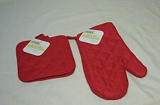 Oven Mitt & Pot Holder(s), Solid (black, red, blue) or Print Set of Your Choice
