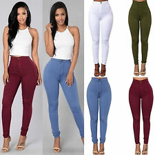 Sexy Women Skinny Fit High Waist Casual Jeans Stretch Slim Pants Pencil Trousers