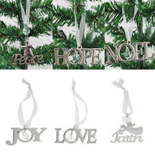 Xmas Tree Letter Hanger Party Hanging Christmas Ornament Home Decor Craft Silver
