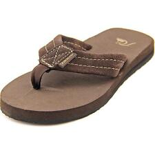 Quiksilver Carver Youth  Open Toe Suede Brown Thong Sandal NWOB