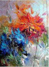 NEW-Handpainted Abstract Canvas Oil Painting Wall Art Decor Blue Orange Flower