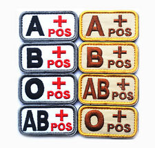 Embroidered Blood Type A B AB O+ Positive 3D Tactial Military Hook Patch