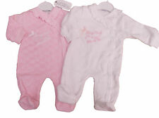 BNWT Baby girls soft velour all in one Tiny girl sleep suit in pink or beige