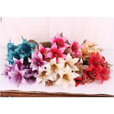 Simulation Fake Lily Silk Artificial Flower Bouquet Wedding Party Decor 6 Colors