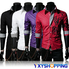 Men Luxury Slim Fit Stylish Dress Dragon Print Long Sleeve Casual Leisure Shirts