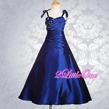 Wedding Flower Girls Dresses Ball Gown Pageant Party Royal Blue Size 2T-12 #167