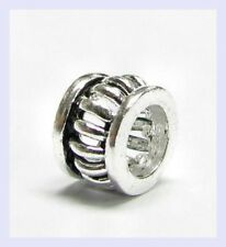 .925 Sterling Round Stripe Filigree Spacer Bead for European Charm Bracelet