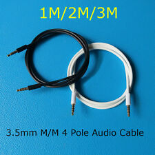 1M/2M/3M 3.5mm 4 Poles Jack Male to Male Audio Aux Cable Stereo Auxiliary Cord