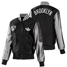 Adidas Originals Brooklyn Nets Satin Bomber Jacket NBA Ladies Sports jacket NEW