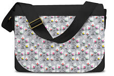 Subtle Flowers on Grey Messenger Bag - Laptop School Shoulder Bag