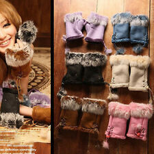 Fashion Warm Winter Women Faux Suede Rabbit Fur Wrist Fingerless Gloves Mittens
