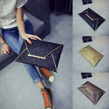 Hot Women Lady's Glitter Sequins Envelope Clutch Bag Evening Party Wallet Purse