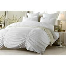 3pc or 4pc white ruched design duvet cover with comforter and shams bedding set