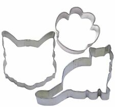3 Piece Cat Face Kitten Paw Cookie Cutter Set New! Animal Shelter Fundraiser