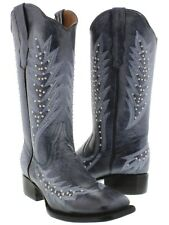 denim blue silver studs leather cowboy cowgirl western rodeo boots stitch square