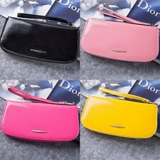 4-colors,Women's Zippered Long Leather Clutch Wallet Cases Purse Wristlet Gift