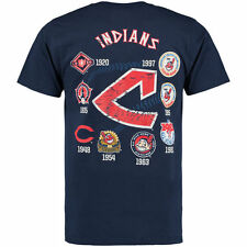CLEVELAND INDIANS MLB COOPERSTOWN LOGOS LAST RALLY NAVY BLUE TSHIRT MAJESTIC NWT
