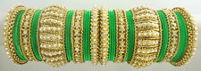 P GREEN CZ PEARL GOLD TONE INDIAN TRADITIONAL BOLLYWOOD BANGLE SET CHURI JEWELRY