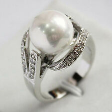 12mm white South Sea shell pearl Gemstone Jewelry Ring Size 6 7 8 9 AAA