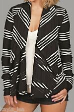 Black/White Stripe Scarf/Drape Shrug/Cover-Up Cardigan S/M/L