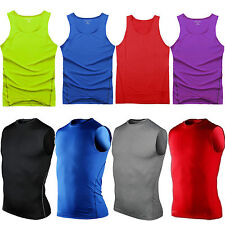 Mens Compression Armour Base Layer Tops Stretch T-Shirts Slim Fit Casual Shirts