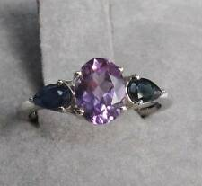 PURPLE AMETHYST & BLUE SAPPHIRE RING - 1.73 ctw - 925 STERLING SILVER Size 7