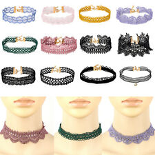 Vintage Hollow Lace Choker Collar Necklace Flower Pendant Tattoo Retro Jewelry
