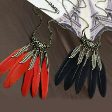 Stylish Womens Retro Bronze Feather Leaf Pendant Sweater Chain Necklace Jewelry