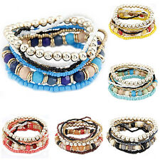 Women's Bohemia Multilayer Acrylic Beads Summer Beach Bracelet Bangle Exquisite