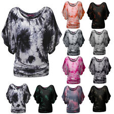 LIUS Womens Colorful Batwing Sleeve Loose Fit  Dolman Soft Tie Dye Tops T-Shirts