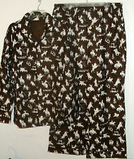 NEW  NICK & NORA FLANNEL PAJAMA UNISEX OLD WEST RODEO PRINT MENS sz L cowboy