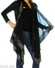 Black w/Plaid L/Sleeve Shrug/Cover-Up Drape Scarf Tunic Cardigan S