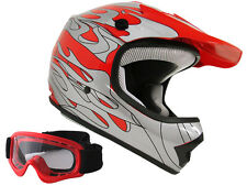Youth Red Silver Flame Motocross Dirt Bike Off-Road ATV MX Helmet+Goggles~S,M,L