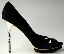 new $640 GUCCI black suede open-toe platforms SILVER BAMBOO HEEL shoes - sexy