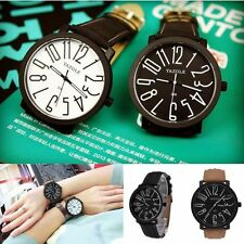 Men/Womens Stainless Steel Leather Band Analog Quartz Sport Wrist Watch