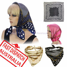 Soft Silky Silk Square Scarf Chemo Head Cover Wrap Chain Polka Dot Chain Print